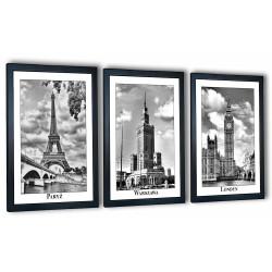3 obrazy w ramach fotografie stolic 99x43 cm