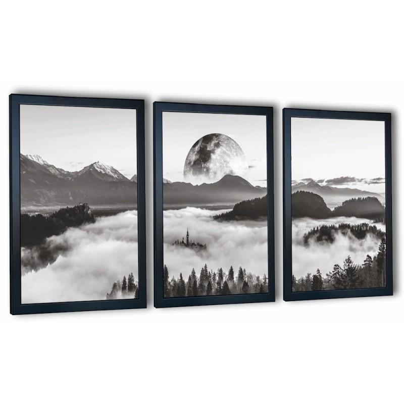 3 obrazy w ramach księżyc i las 99x43 cm