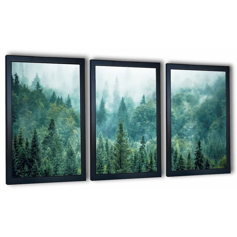 3 obrazy w ramach las we mgle 99x43 cm