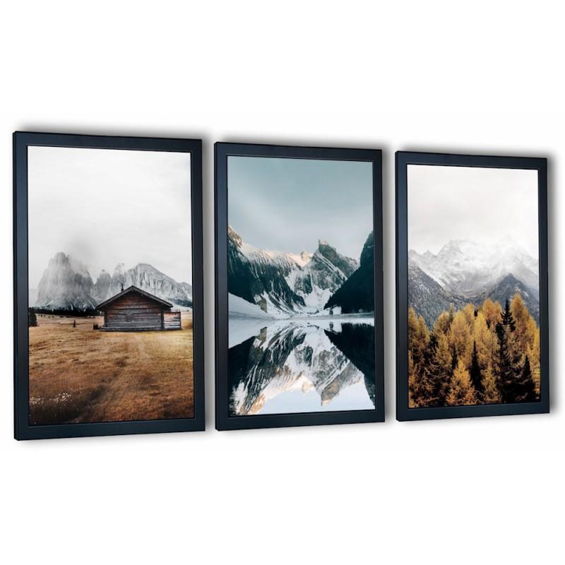 3 obrazy w ramach góry 99x43 cm