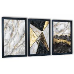 3 obrazy w ramach marmury szare 99x43 cm