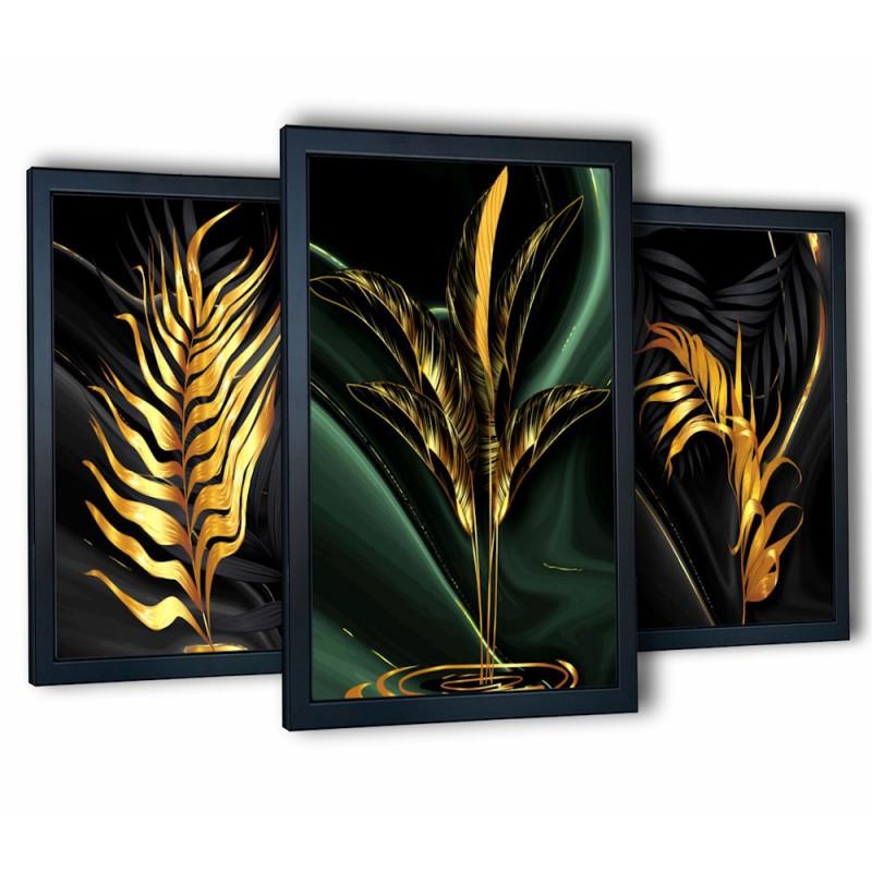 3 obrazy w ramach złote liście 99x43 cm
