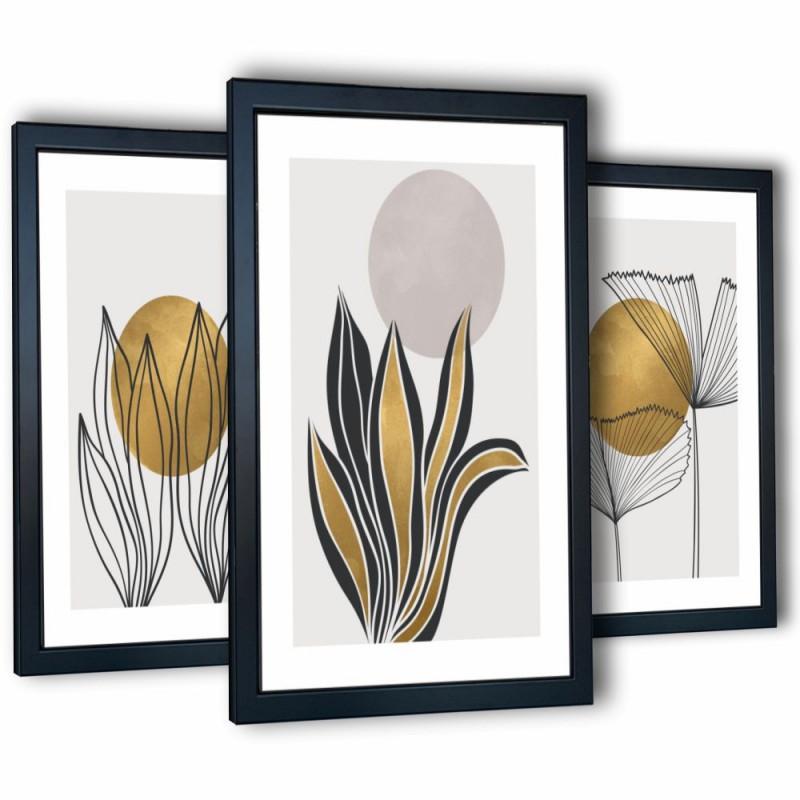 3 obrazy w ramach abstrakcja-3 99x43 cm
