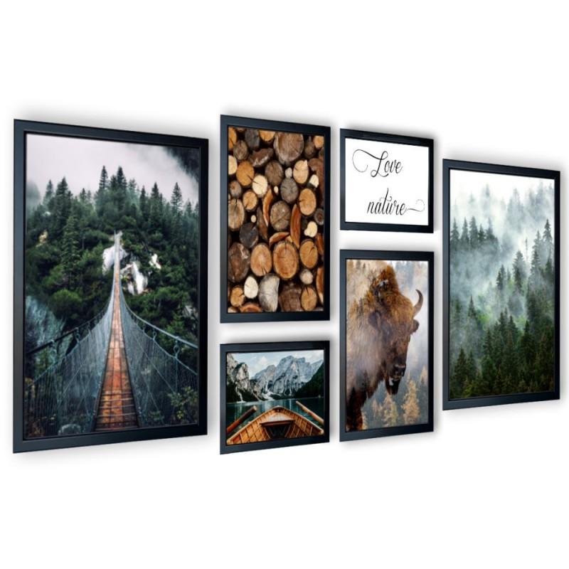 Galeria 6 szt obrazów w ramach las, natura 167x72 cm