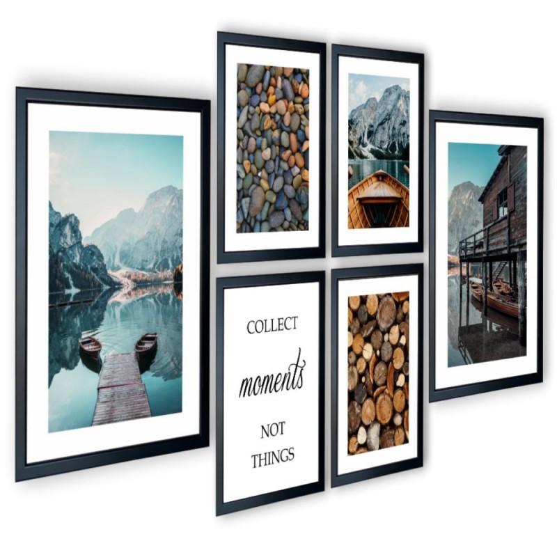 Galeria 6 szt obrazów w ramach łodzie jezioro 205x91