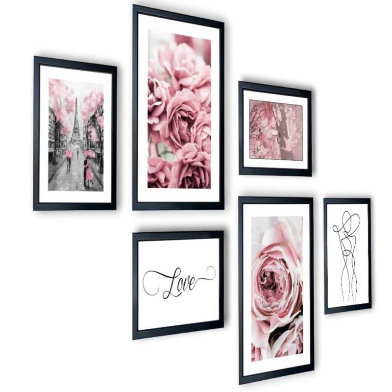 Galeria 6 szt obrazów w ramach  róże Paryż 225x91
