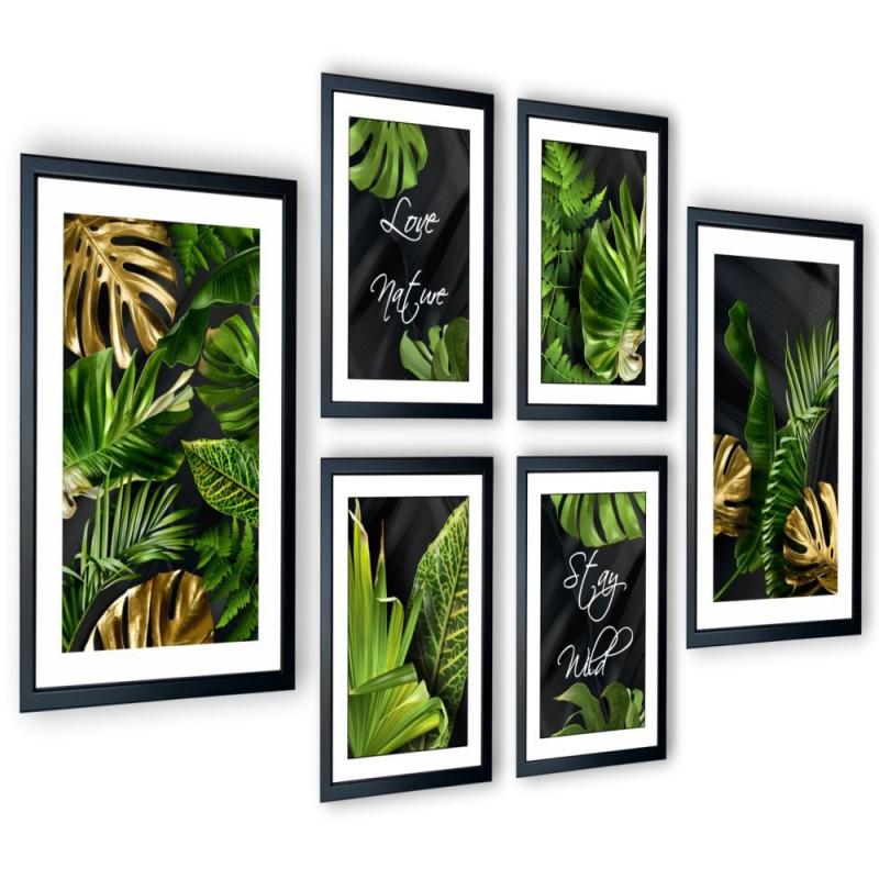 Galeria 6 szt obrazów w ramach Tropical Monstera 205x91