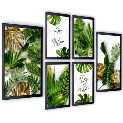 Galeria 6 szt obrazów w ramach Tropical Monstera Jasna 205x91