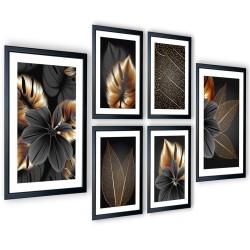 Galeria 6 szt obrazów w ramach grafitowy kwiat  205x91