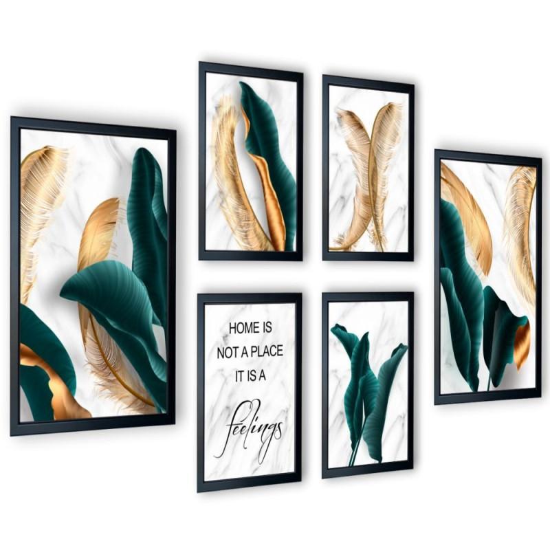 Galeria 6 szt obrazów w ramach turkusowe liście 167x91