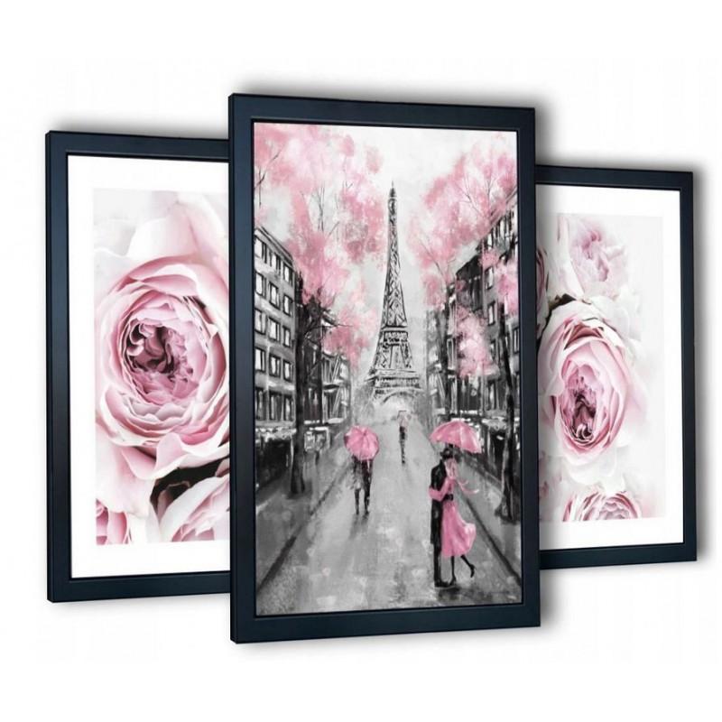 Obrazy na ścianę różowe peonie, Paryż 99x43 cm