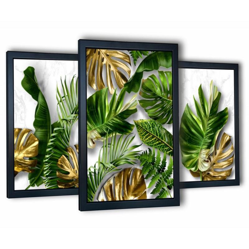 3 obrazy w ramach tropical monstera II 99x43 cm