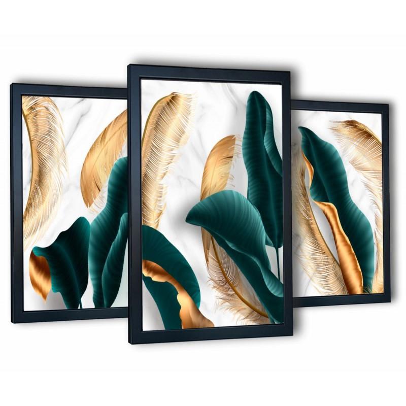 3 obrazy w ramach turkusowe liście 99x43 cm