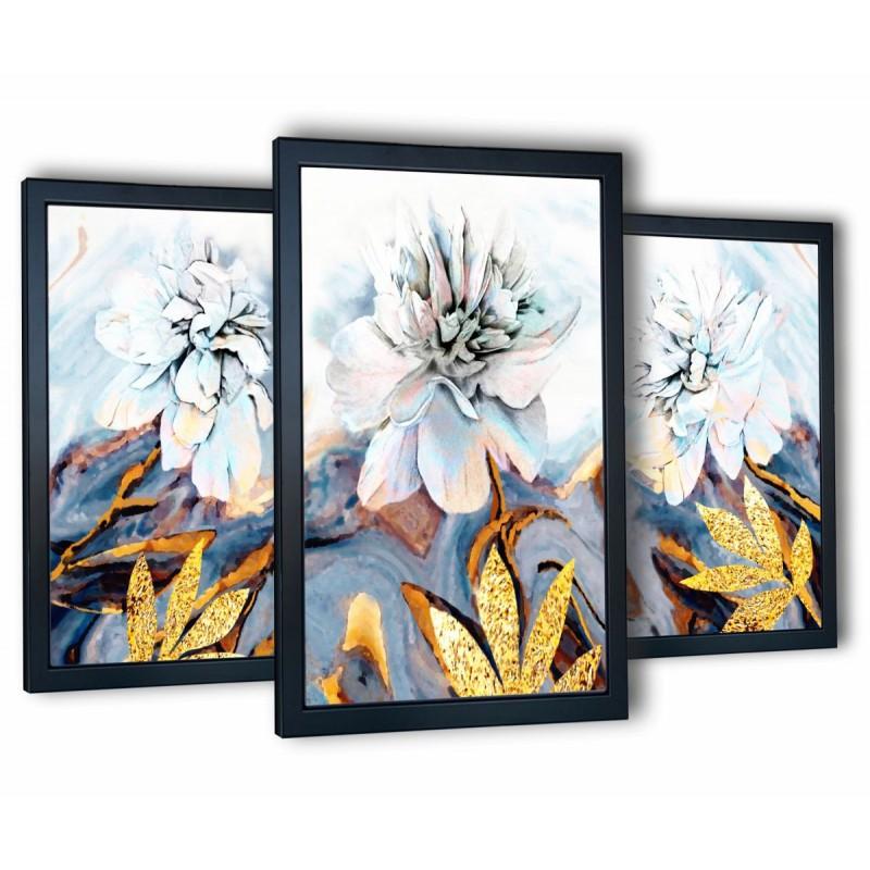 błękitny kwiat w czarnych ramach