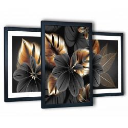 grafitowy kwiat w czarnych ramach