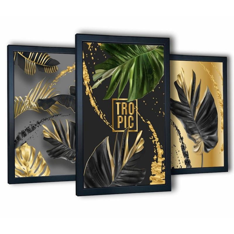 3 obrazy na ścianę monstera tropic 99x43