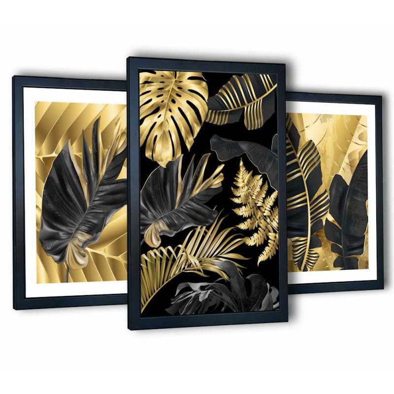 3 obrazy w ramach tropikalne liście 99x43