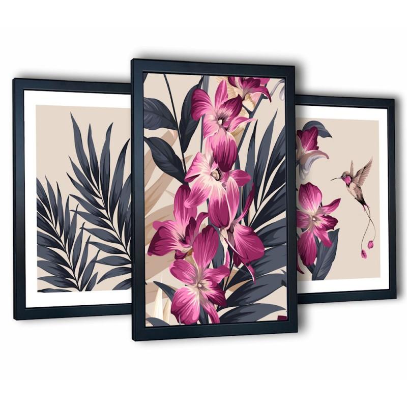 różowa orchidea w czarnych ramach