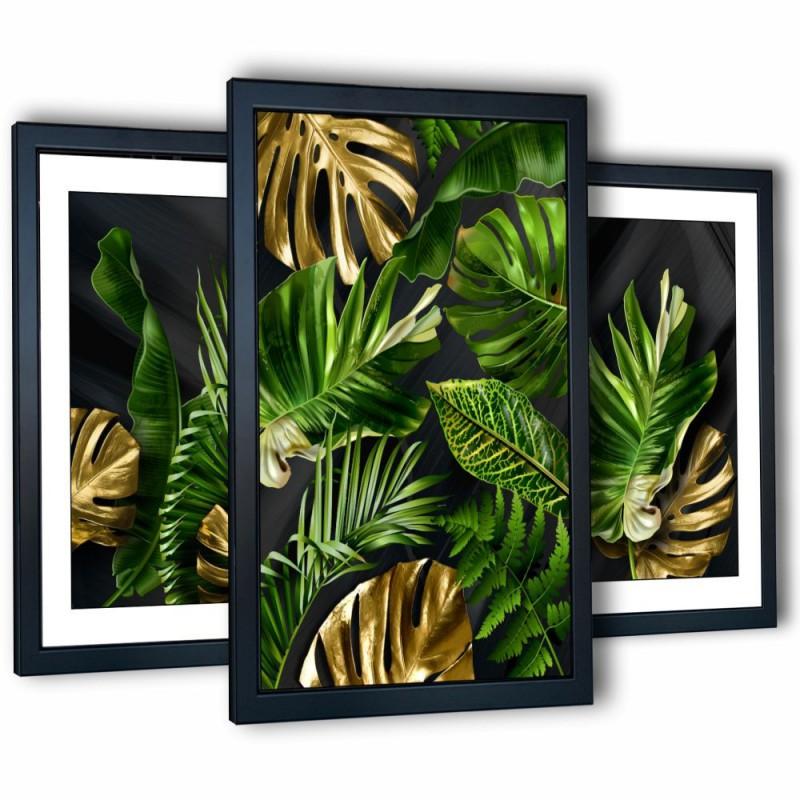 3 obrazy w ramach tropical monstera I 99x43 cm