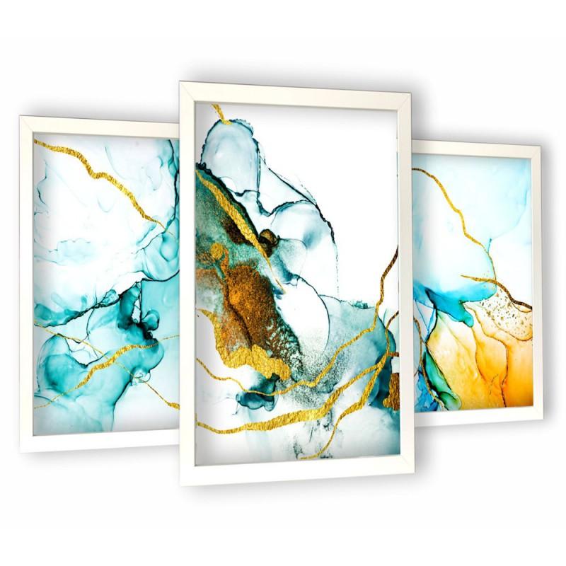 turkusowa abstrakcja białe ramy